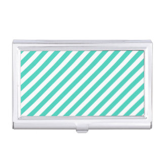 Teal and White Diagonal Stripes Pattern Business Card Holder
