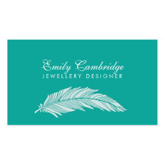 Teal and White Feathers Jewelry Designer Pack Of Standard Business Cards