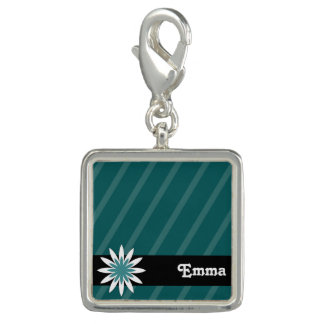 Teal and white flower monogram charm
