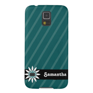 Teal and white flower monogram Samsung galaxy case