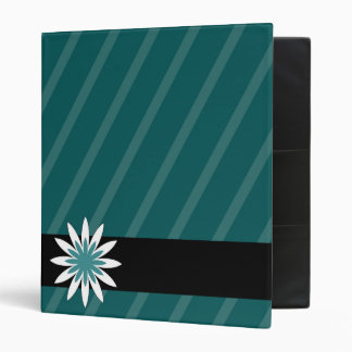 Teal and white flower stripes binder