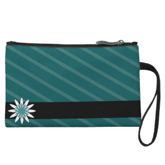 Teal and white flower stripes clutch wristlet purse