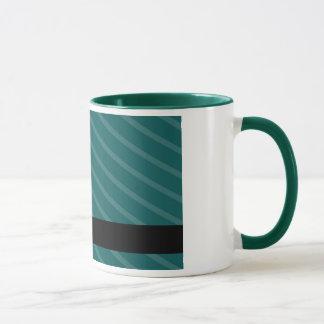 Teal and white flower stripes mug