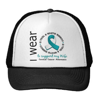Teal And White For My Wife 17 Cervical Cancer Hat