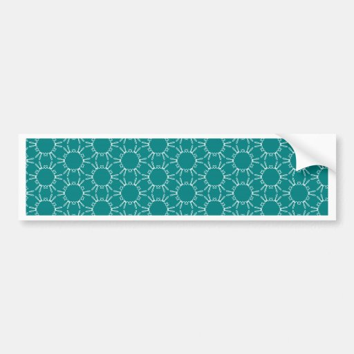 Teal and White Geometric Doodle Pattern Bumper Stickers