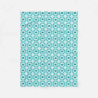 Teal and White Geometric Retro Flower Design Throw Fleece Blanket