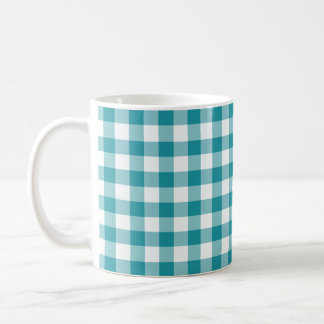 Teal and White Gingham Checked Pattern Coffee Mug