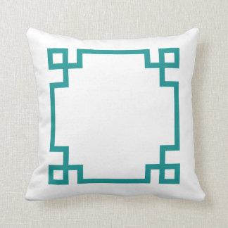 Teal and White Greek Key Cushion