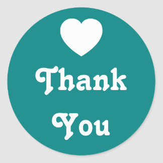 Teal and White Heart Thank You Round Sticker