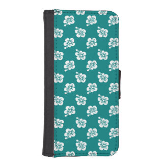 Teal and White Hibiscus Pattern iPhone SE/5/5s Wallet Case