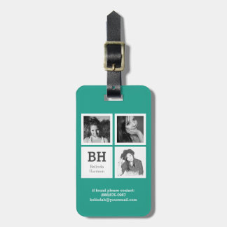Teal and White Instagram Photos Personalized Tags For Luggage