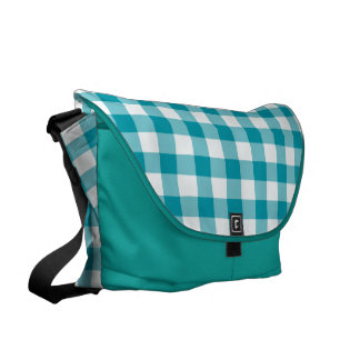 Teal and White Jumbo Check Gingham Pattern Messenger Bags