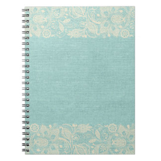 Teal and White Lace Notebook