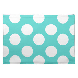 Teal and White Large Polka Dot Placemat