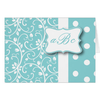 Teal and White Monogram Card