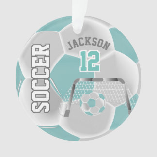 Teal and White Personalize Soccer Ball Ornament