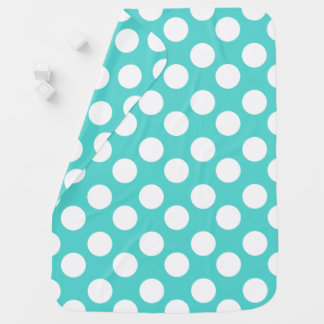 Teal and White Polka Dot Baby Blanket