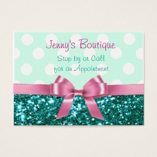 Teal and White Polka Dot with Pink Bow & Glitter Business Card