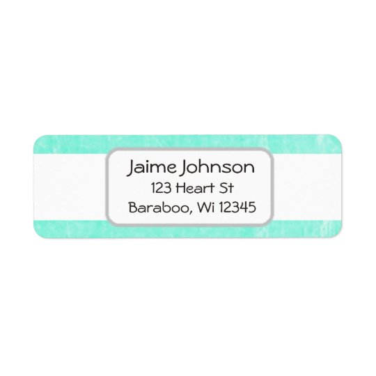 Teal and white  Return Address Sticker