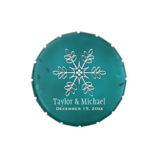 Teal and White Snowflake Jelly Belly Tin