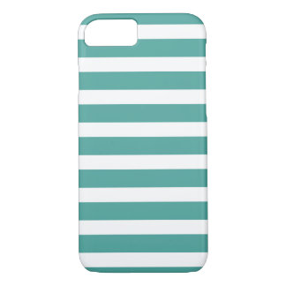 Teal and White Striped Phone Case