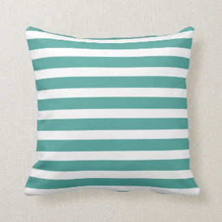 Teal and White Striped Throw Pillow