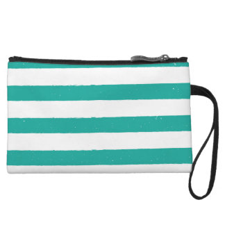 Teal and White Stripes Wristlet Purse
