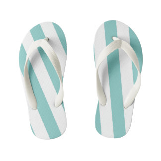 Teal and White Stripes Kid's Flip Flops