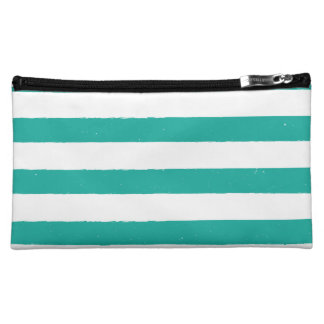 Teal and White Stripes Makeup Bags