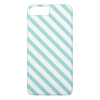 Teal and White Stripes Pattern iPhone 7 Plus Case
