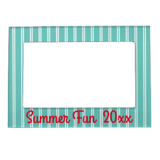 Teal and White Stripes With Red Personalized Magnetic Frame