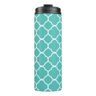 Teal and white tile pattern on thermal tumbler