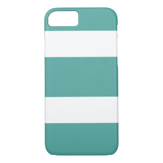 Teal and White Wide Striped Phone Case