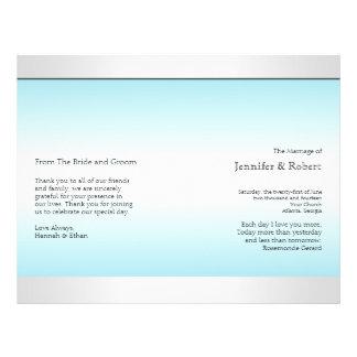 Teal and White Zebra Diamond Wedding Program 21.5 Cm X 28 Cm Flyer