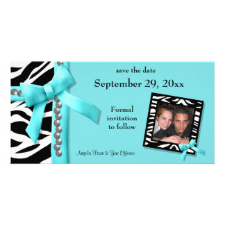 Teal And White Zebra Gems Save The Date Card