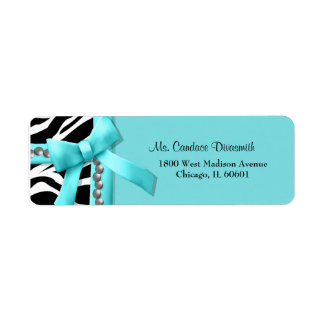 Teal And White Zebra Striped With Silver Pearls