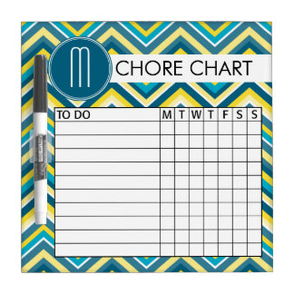 Teal and Yellow Chevron Pattern Chore Chart Dry Erase Board