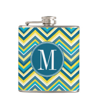 Teal and Yellow Chevron Pattern Chore Chart Hip Flask