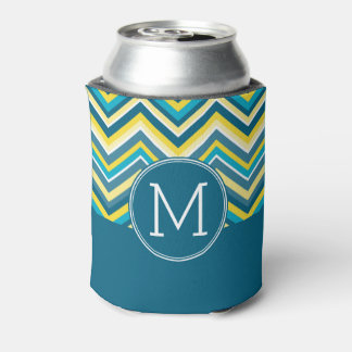 Teal and Yellow Colorful Chevron Pattern Monogram Can Cooler