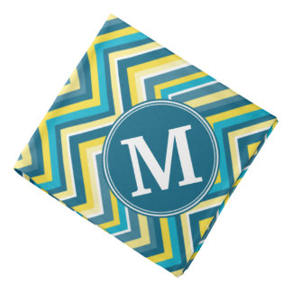 Teal and Yellow Colorful Chevron Pattern Monogram Head Kerchief