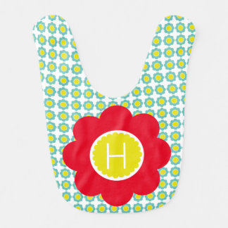 Teal and Yellow Flowers With Red Flower Monogram Bib
