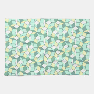 Teal and Yellow Penrose Tiling Towel
