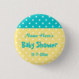 Teal and Yellow Polka Dot, Custom Baby Shower 3 Cm Round Badge