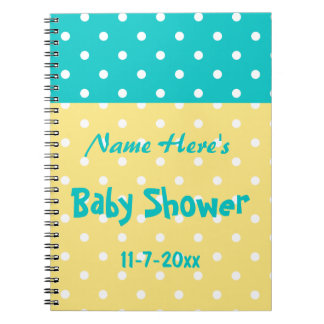 Teal and Yellow Polka Dot, Custom Baby Shower Notebooks