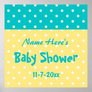 Teal and Yellow Polka Dot Custom Baby Shower Print