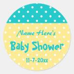 Teal and Yellow Polka Dot, Custom Baby Shower Sticker