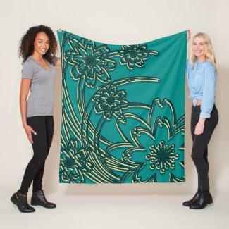 Teal and Yellow Wildflower Design Fleece Blanket