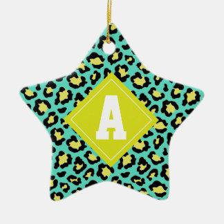 Teal Animal Print Christmas Ornament