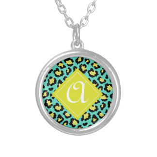 Teal Animal Print Silver Plated Necklace