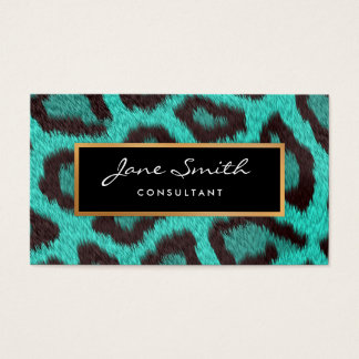 Teal Animal Skin, Leopard, faux Gold Foil Business Card
